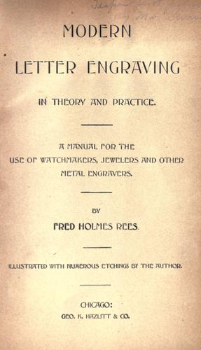 Modern letter engraving in theory and practice