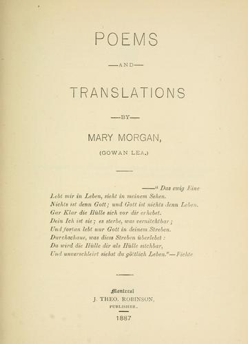 Poems and translations by Morgan, Mary