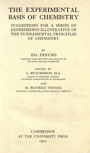 The experimental basis of chemistry by Ida Freund