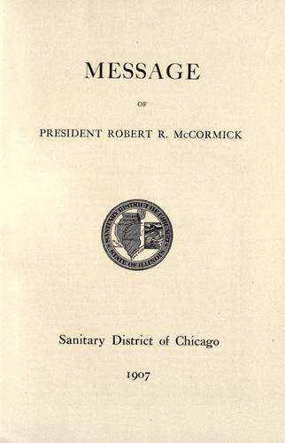 Message of president Robert R. McCormick by McCormick, Robert Rutherford