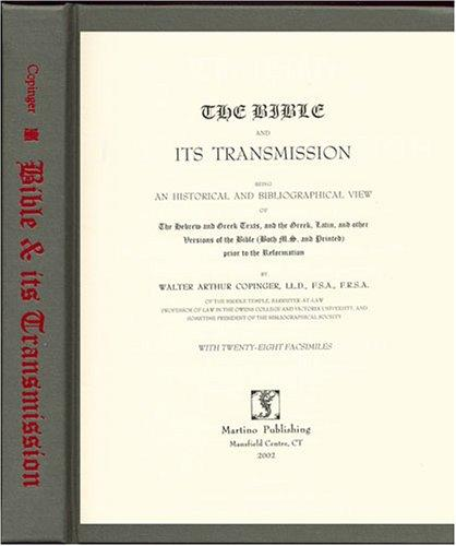 The Bible and Its Transmission