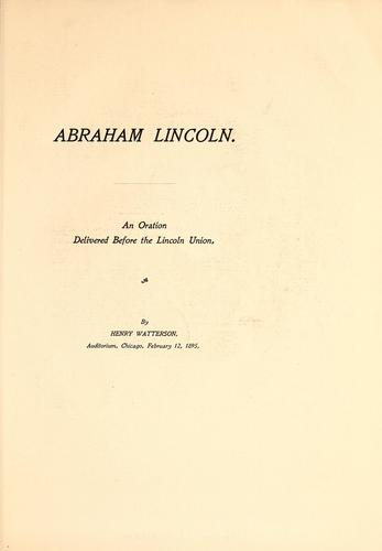 Abraham Lincoln by Watterson, Henry
