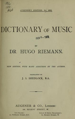 Dictionary of music by Hugo Riemann